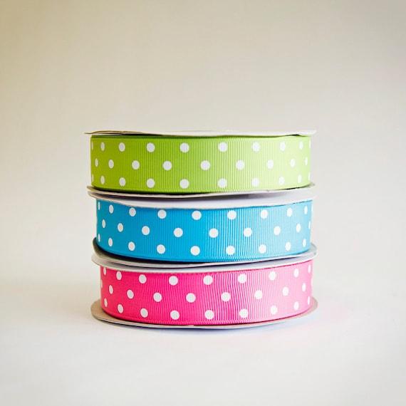 Polka Dot Grosgrain Ribbon, 3 colors, 5/8ths, 25 yds. of each on the spool, 75 yds total