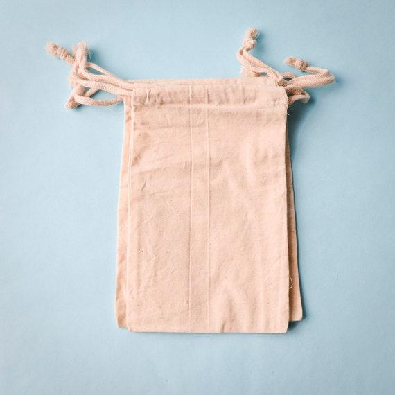 10 Muslin Bags 5x8, Natural Drawstring Sack, Rustic Gift Bag Wedding Favor