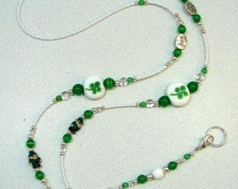 St Patrick Leprechaun Clover Luck Green Beaded Lanyard ID Badge Holder