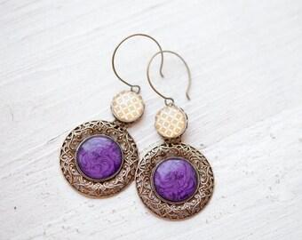 Purple earrings - Jewel tones  (E108)