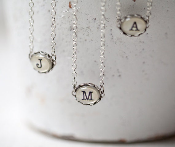 Initial necklace - Personalized initial necklace - Custom necklace - Personalized Monogram necklace - Bridesmaid gift (N084)