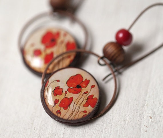 Red Poppy earrings - Bridesmaids jewelry  (E060)