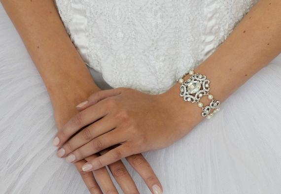 Bridal Cuff Bracelet Rhinestone Crystal Wedding Bracelet Wedding Jewelry Vintage Style Bracelet Accented with Pearls Wedding Accessories