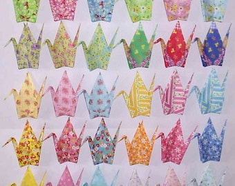 30 Large Origami Cranes Origami Paper Cranes Paper Crane - Made of 15cm 6 inches Japanese Chiyogami Paper Floral Pattern