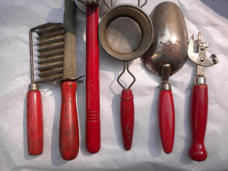 Vintage Kitchen Utensils Red Wooden Handles Instant Vintage