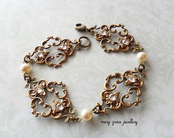Antique Gold Art Nouveau Style Filigree Bridal Bracelet, cream swarovski pearls