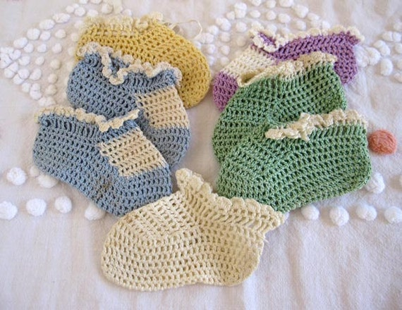 Vintage Antique Crochet Baby Booties Crib Shoes