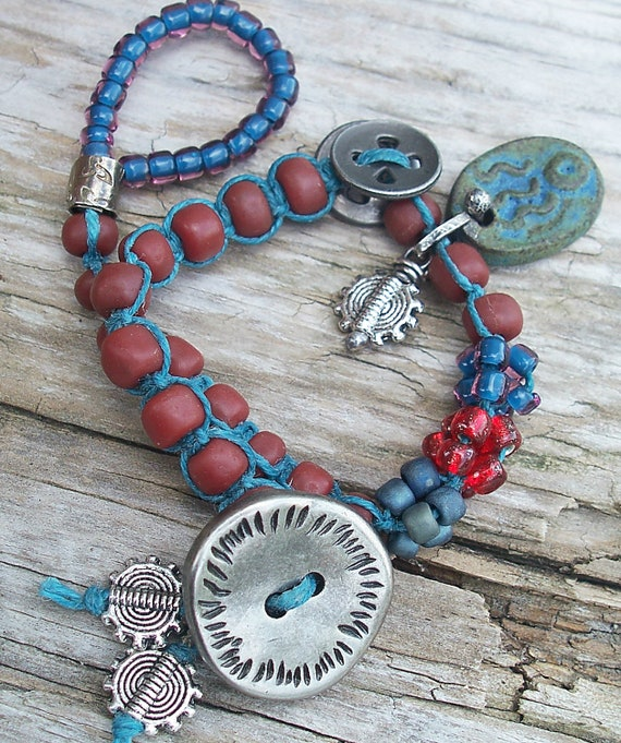 Knotted Bracelet Teal Linen with Gunmetal, Pewter, Red and Denim Blue Glass and Stoneware Charm