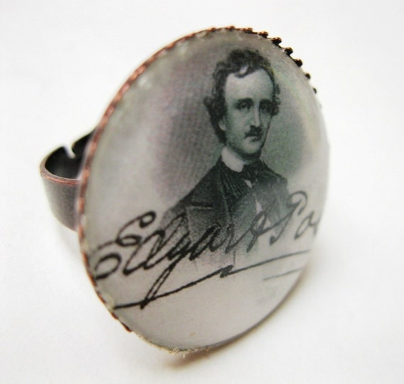Edgar A. Poe Signature Ring, inch round under resin, ox brass adjustable ring base