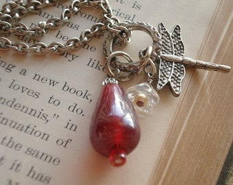 Dragonfly Necklace Red Glass Teardrop Stone on Long Silver Chain Statement Necklace