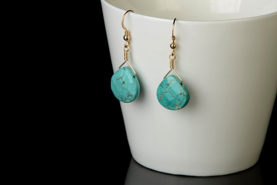 Turquoise Gold Earrings - Southwest Jewelry - Turquiose