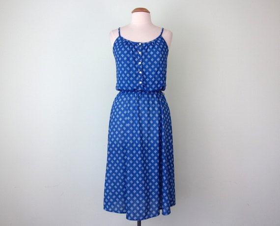SALE 70s dress / blue jersey print sundress fitted waist (l - xl)