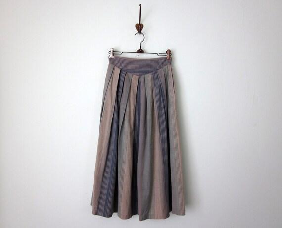 80s skirt / striped cotton button high waist pleated (xs - s)