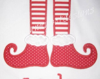 Elf Feet Christmas Custom Personalized Shirts Family Girls Boys Dad Mom Name Included Appliqued Embroidered