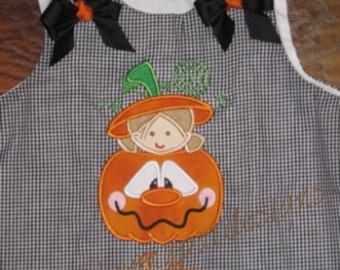 Custom Boutique Personalized Pumpkin Girl Gingham Aline Dress Girls Halloween Thanksgiving Name included