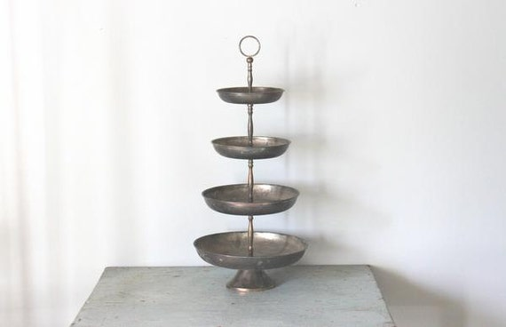 vintage shabby Silverplate tiered Trays