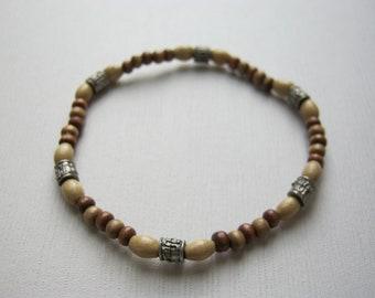 Simple Wood and Metal Bead Bracelest