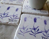 Lavender Coasters - Gardener Gift - Floral Home Decor - Set of 4 - Ready to Ship