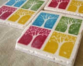 Four Seasons Tree Coasters - Seasonal Home Decor - Set of 4 Tiles