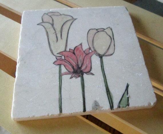 Tulips Kitchen Trivet - For the Gardener Gift - Ready to Ship
