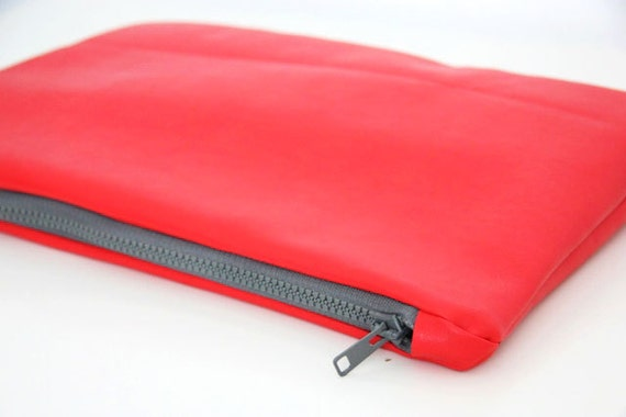 Red leather clutch, zipper pouch, fold over clutch, carry all bag - 20% off