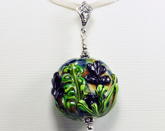 Deep Purple Iris Flower Handmade Lampwork Glass Bead Sterling Silver Pendant Jewelry SRA by HallockGlass