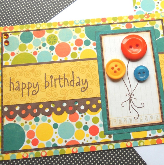 Birthday Card with Matching Embellished Envelope - Summer Balloons