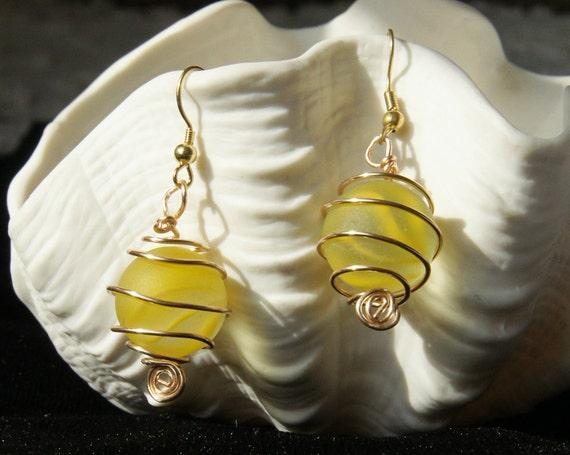 Yellow Faux Sea Glass Cat's Eye Marble Earrings