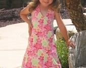 A-line girls summer dress pattern, INSTANT DOWNLOAD pdf ebook, Macy REVERSIBLE Halter Dress size 2 - 8