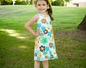 A-line girls summer dress pattern, pdf ebook, Macy REVERSIBLE Halter Dress size 2 - 8 INSTANT DOWNLOAD