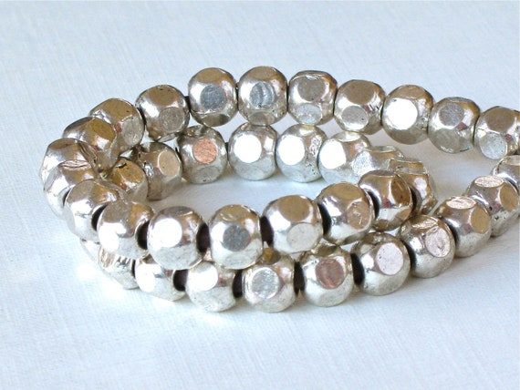 50 silver metal faceted tribal style BEADS with large 2.9mm HOLE . 6mm x 6mm x 6mm