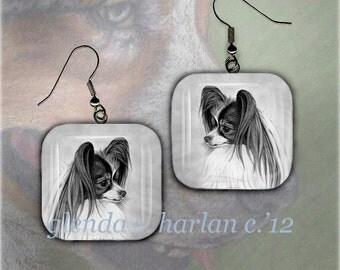 Papillon Dog Glass Earrings