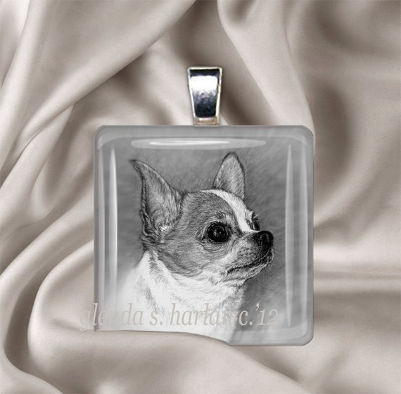 Chihuahua Dog Fine Art Glass Pendant