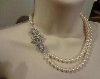 Bridal Pearl necklace, Vintage Style, rhinestone and Pearl necklace, Bridal Necklace, Lucinda, PN024