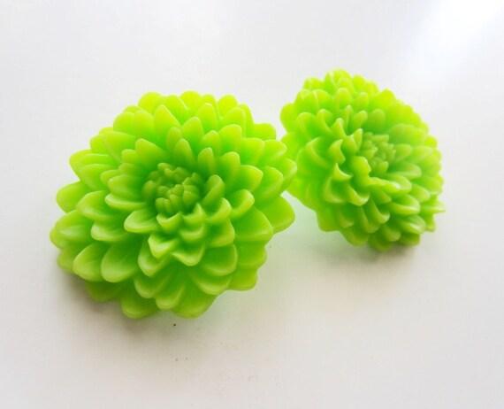 Lime green earrings. Green flower earrings. Green mum earrings. Clip on earrings. Nonpierced ears. Lime green mum. Large flower earrings.