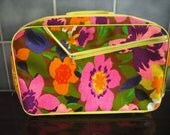 neon colorful floral mini suitcase ,made in japan