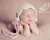 White Newborn Baby Bonnet Photo Prop, White and Pink Crocheted Baby Hat