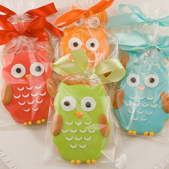 Owl Cookie Favors - 20 Decorated Sugar Cookies