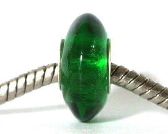 Disc Lampwork Glass Bead fits All big hole bead European Bracelets - Land of Oz - Emerald Green BHB