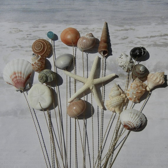 Seashell and Starfish Stems - 18 Natural Colored Seashells and a Starfish for Wedding Bouquets or Centerpieces