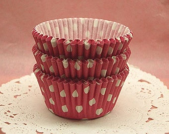 Cute Raspberry Polka Dots small cupcake cups (set of 50)