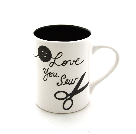 SALE Sewing Crafter Mug with Scissors and Button I Love You Sew