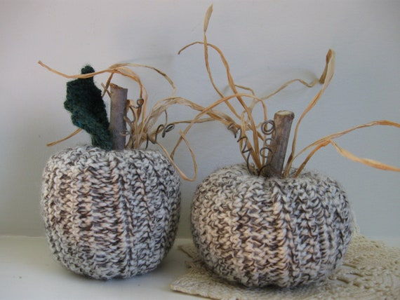 Woodland Wool Pumpkins Fall Decorations Autumn Decor Crocheted Pumpkins Rustic Farmhouse Decor Country Decor Wool Set of Two