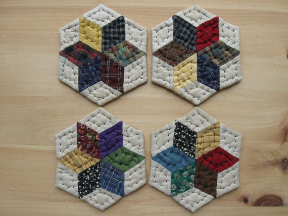 Coasters Quilted Mug Mats Fabric Coasters Cloth Coasters Rustic Primitive Country Decor Farmhouse Decor Kitchen Housewares Scrappy Star