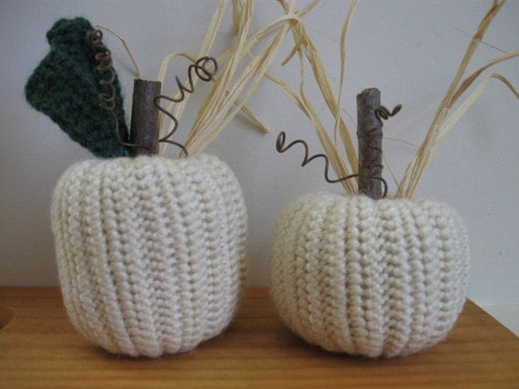White Pumpkins Fall Decorations Autumn Decor Thanksgiving Rustic Country Decor Handmade Set of Two