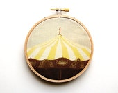 Carousel Photography Fabric Art - 4 inch hoop - Nursery Decor - Embroidery Hoop Art - Modern Design - Textile Photo on Fabric