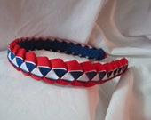 Girls Woven Ribbon Headband in Red White and Blue