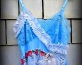 Beachy Boho Glam Upcycled Vintage Baby Blue Slipdress