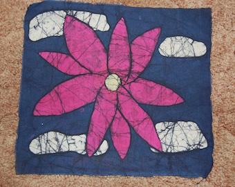 Pink Flower Batik Fabric Print