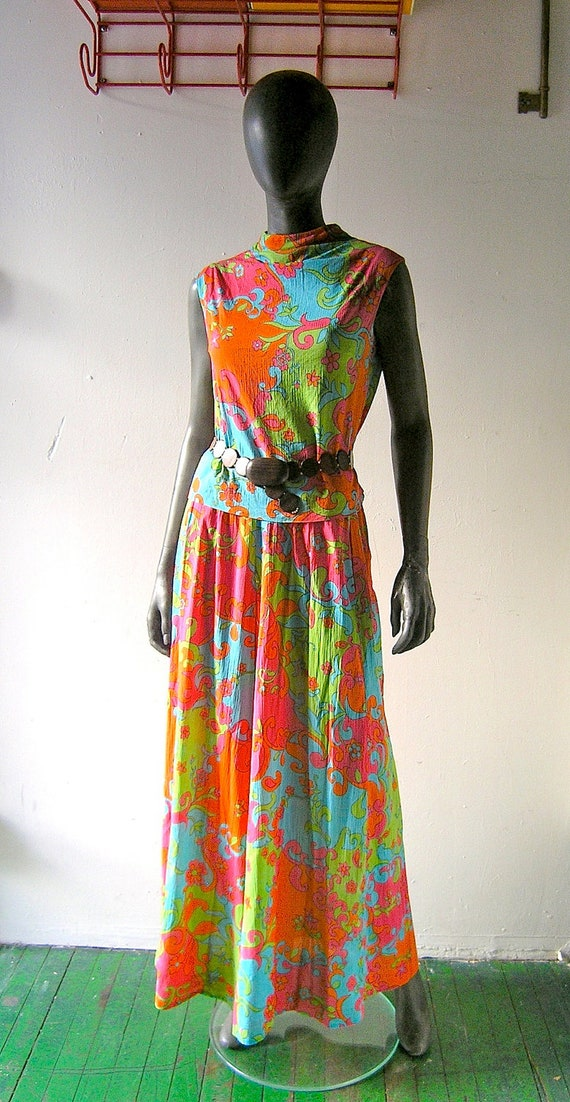 reserved - 60s mod psychedelic palazzo pant ensemble -  size 6/8 - Tanner of North Carolina mod print sheer crinkle cotton - Mad Men Megan